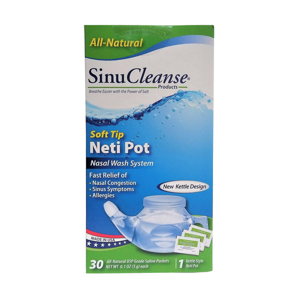 SinuCleanse Soft Tip Neti Pot Nasal Wash System, 30 Packets, 1 Box Each, By Ascent Consumer Products