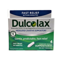 Dulcolax Medicated Laxative Suppositories, 4 Ct., 1 Pack Each, By Boehringer Ingelheim