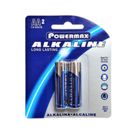 Powermax Alkaline Long Lasting Batteries,Size AA, 2 Count, 1 Pack Each, By Powermax USA, Inc.