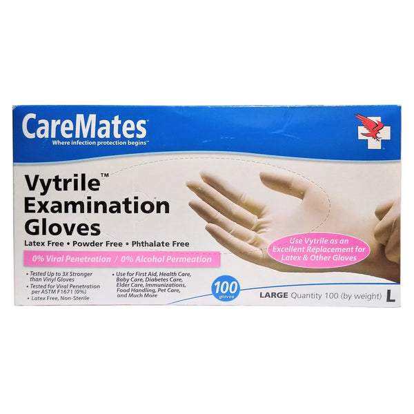 CareMates Examination Gloves, Large, 100 Ct., 1 Box Each, By Shepard Medical Products, Inc.