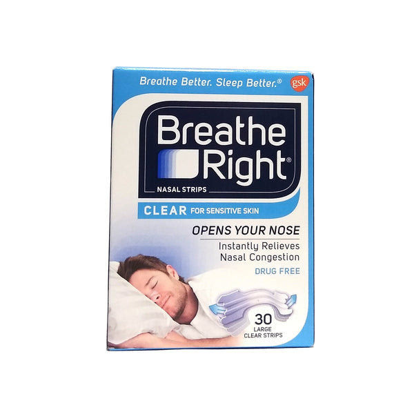 Breathe Right Clear For Sensitive Skin, 30 Large Clear Strips, 1 Pack Each, By GSK Consumer Healthcare