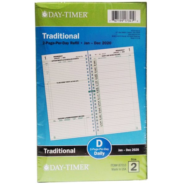 Day-Timer Traditional 2-Page-Per-Day Jan-Dec 2020 Size 2, 1 Pack Each, By ACCO Brands