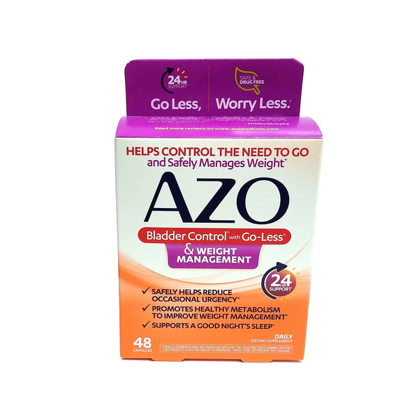 AZO Bladder Control With Go-Less & Weight Management Dietary Supplement, 48 Capsules, 1 Pack Each, By I-Health Inc.