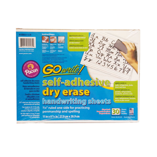Go Write! Self Adhesive Dry Erase Handwriting Sheets, 30 Ct., 1 Pack Each, By Pacon Corporation