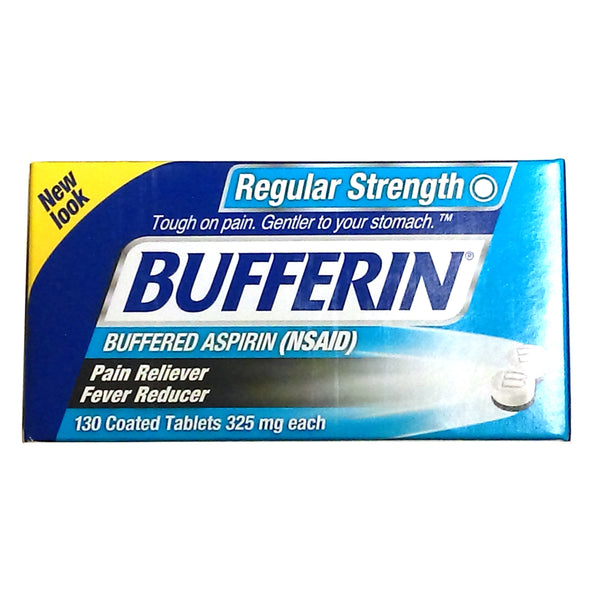 Bufferin Aspirin (NSAID) Pain Reliever Fever Reducer, 325 Mg. 130 Coated Tablets, 1 Bottle, By Genomma