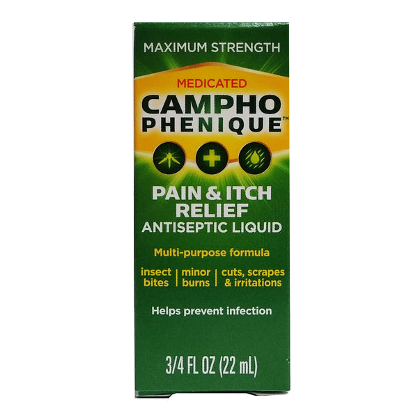 Medicated Campho Phenique Pain And Itch Relief, Antiseptic Liquid, 22 mL, 1 Each