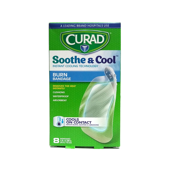 "Curad Soothe And Cool Clear Gel Burn Bandage 1.8"" x 2.96"", 8 Count, 1 Box Each, By Medline"