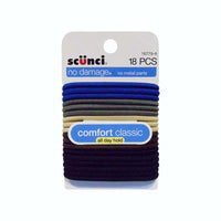 Scunci No Damage Elastic Hair Bands, Assorted Colors, 18 Count, 1 Pack Each, By Conair