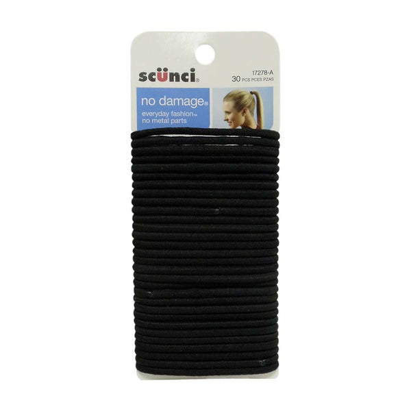 Scunci No Damage Hair Ties, Black, 30 Count, 1 Pack Each, By Conair