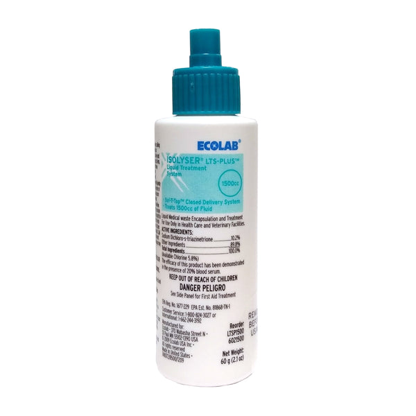 Isolyser LTS Plus Liquid Treatment System 1500cc 2.1 Oz, Case Of 100 Bottles, By Ecolab