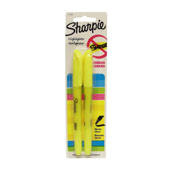 Sharpie Accent Fluorescent Yellow Highlighters, 2 Count, 1 Pack Each, By Newell