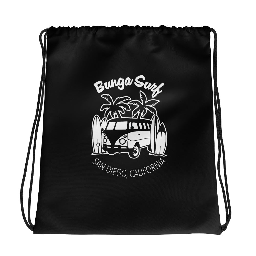 Bunga Surf Black Drawstring bag - Bunga Surf