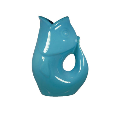 Peacock Blue GurglePot Porcelain Fish Shaped Pitcher