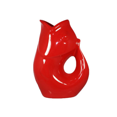 Red GurglePot Porcelain Fish Shaped Pitcher