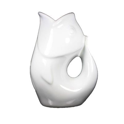 White GurglePot Porcelain Fish Shaped Pitcher