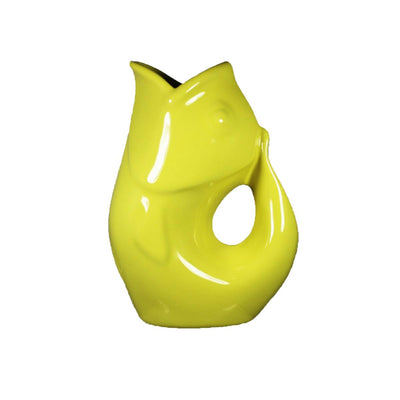 Yellow GurglePot Porcelain Fish Shaped Pitcher