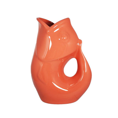 Coral Pink GurglePot Porcelain Fish Shaped Pitcher