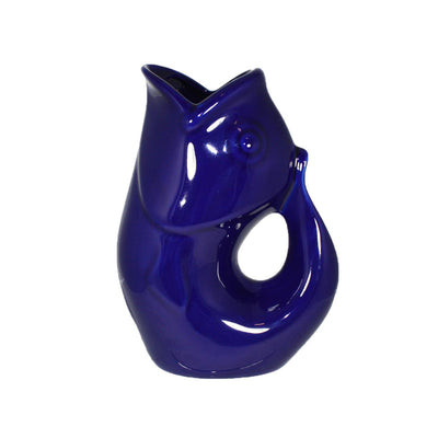 Cobalt Blue GurglePot Porcelain Fish Shaped Pitcher