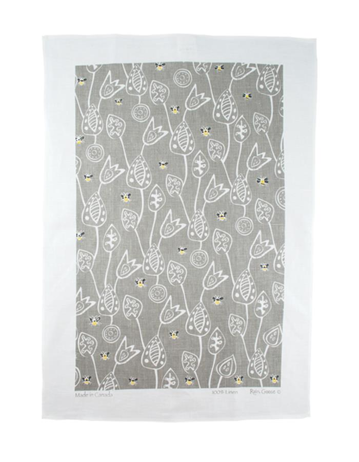 Rain Goose Linen Towel, bee Grey