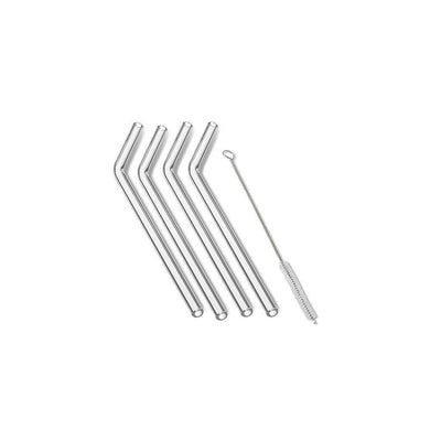 Outset Glass Reusable Drinking Straws Set of 4, bent