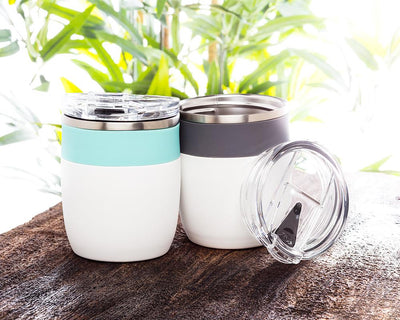 Bevi Insulated Tumbler With Flip Top Lid - White & Grey
