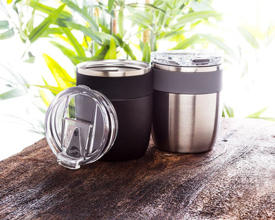 Bevi Insulated Tumbler With Flip Top Lid - Black