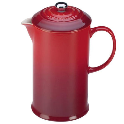 Le Creuset Stoneware French Press, 27oz cherry