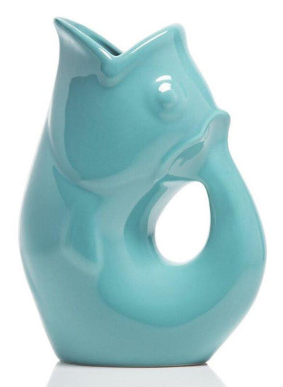Aqua GurglePot Porcelain Fish Shaped Pitcher