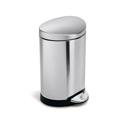 simplehuman semi-round step can 6l stainless steel