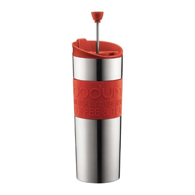 Red Bodum Stainless Steel Travel Mug Press, 15 oz