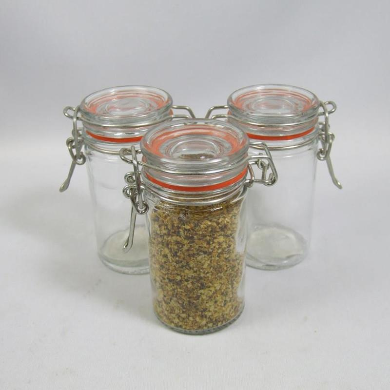 Port-Style Mini Glass Canister with Clamp Lid 60ml