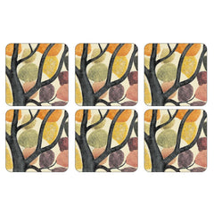 Pimpernel Cork Backed Hard Coasters Set, Dancing Trees