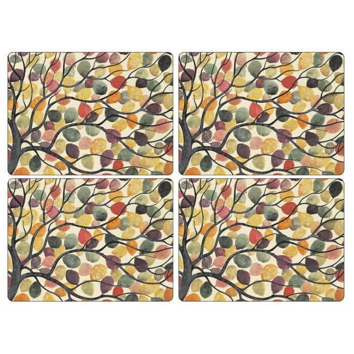 Pimpernel Cork Backed Hard Placemat Set, Dancing Trees