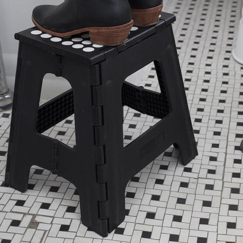 Kikkerland Step Stool Folding Tall, Black Lifestyle
