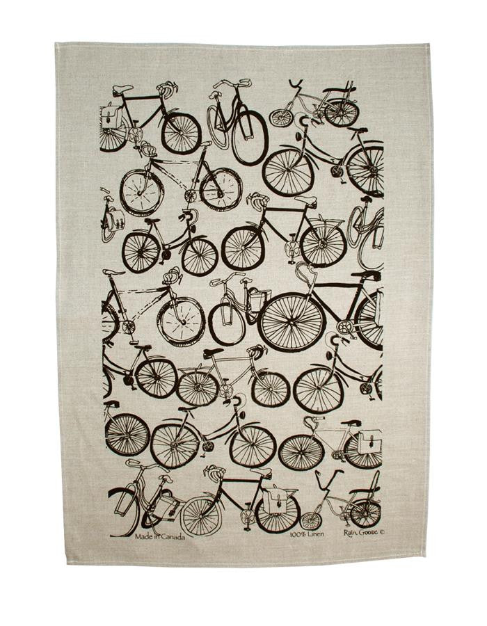 Rain Goose Linen Towel, Black Bike with an Oatmeal background