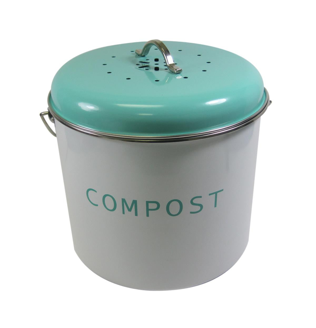 Kitchen Basics Compost Bin, Teal Blue and White