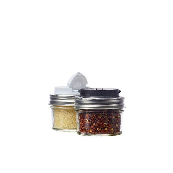 Jarware Spice Lid Set of 2, Black and White