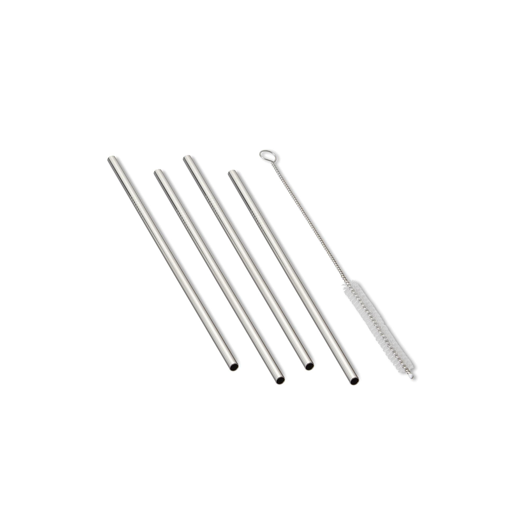 Outset Stainless Steel Reusable Drinking Straws, Straight