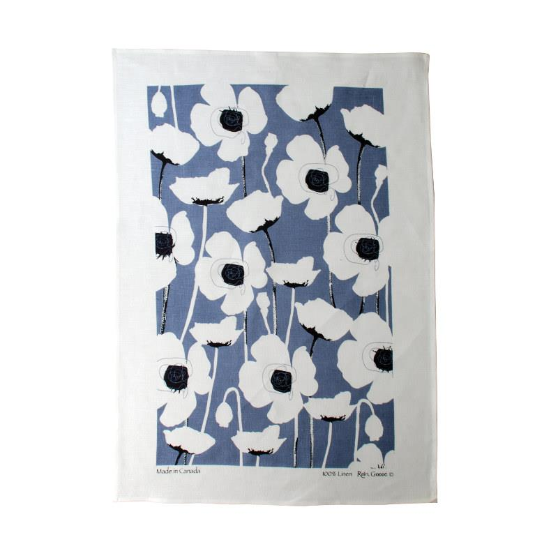 Rain Goose Linen Kitchen Towel, Blue Poppy