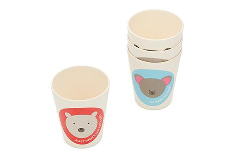 Red Rover Bamboo Animal Cups - Set of 4