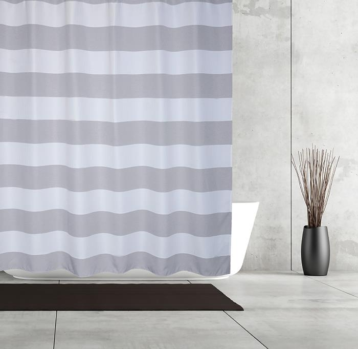 Moda at Home Shower Curtain - Queen Stripe Grey
