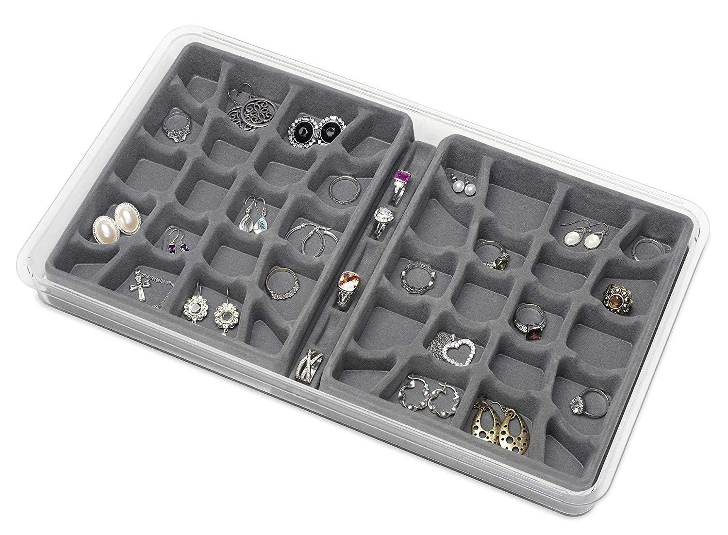 Whitmor 47-Section Stackable Jewelry Tray