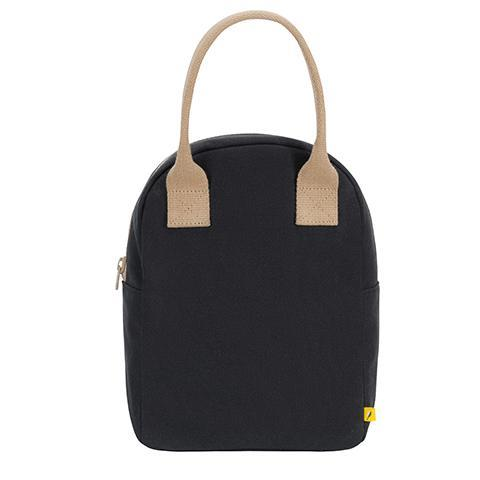 Fluf Zippered Black Lunch Bag