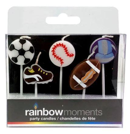 Rainbow Moments Sports Party Candles