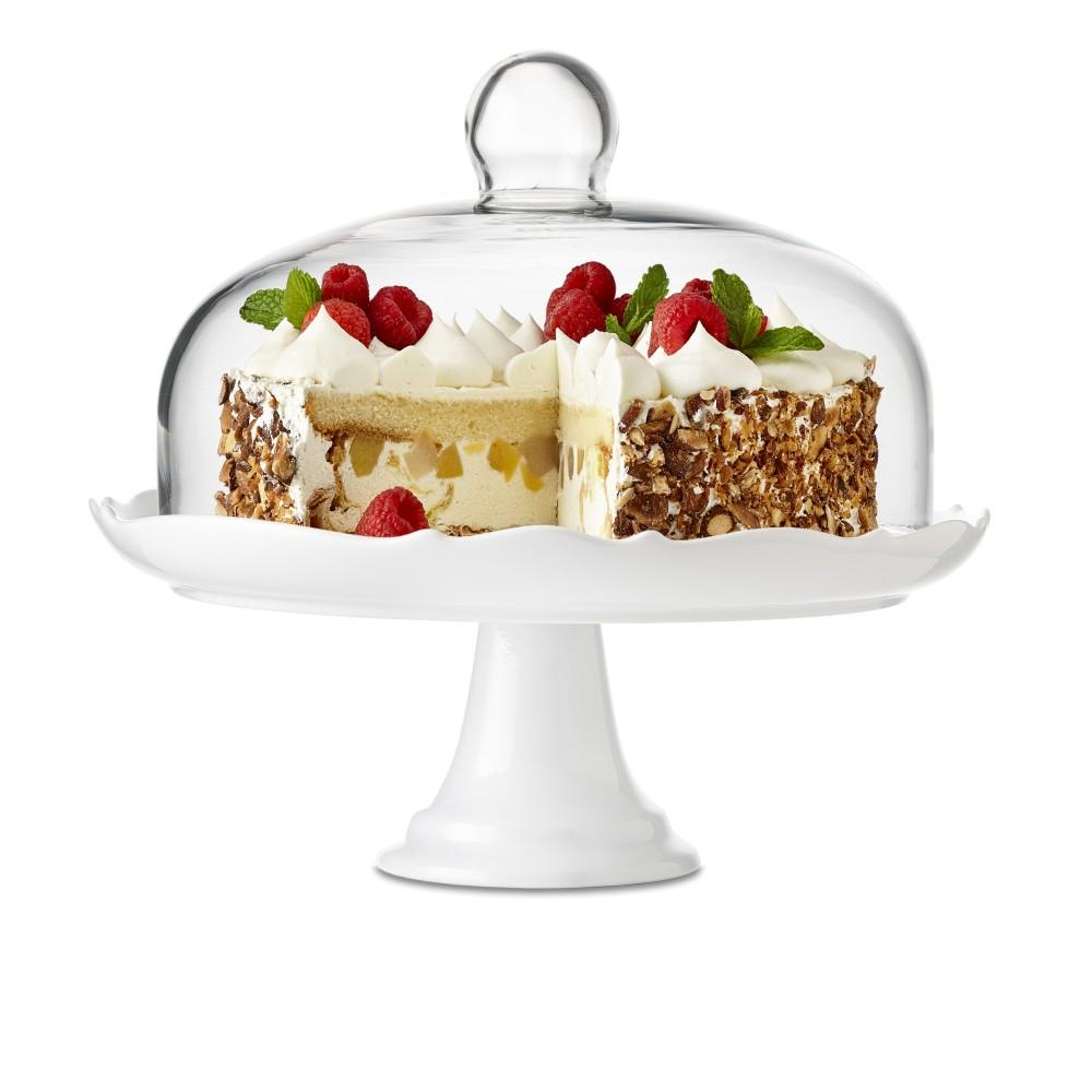 Bianco Brilliant Pedestal Cake Plate and Dome, 27cm