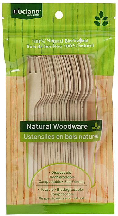 Luciano Natural Woodware Birchwood Forks Set of 20