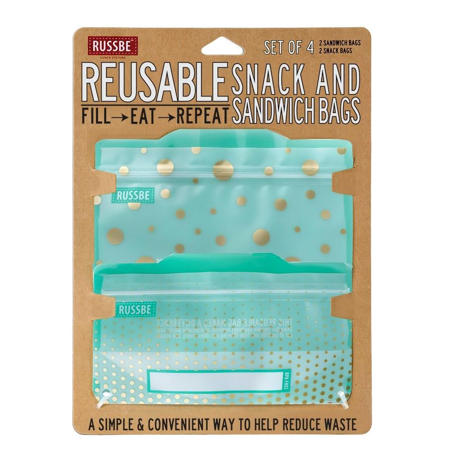 Russbe Snack & Sandwich Bags, Polka Dots