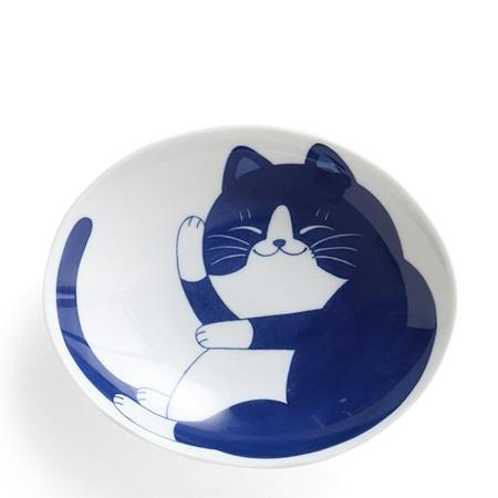 Miya Dark Blue Cat Plate-Bowl - 7.5""