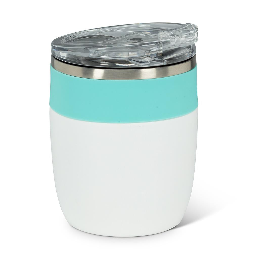Bevi Insulated Tumbler With Flip Top Lid - White & Turquoise