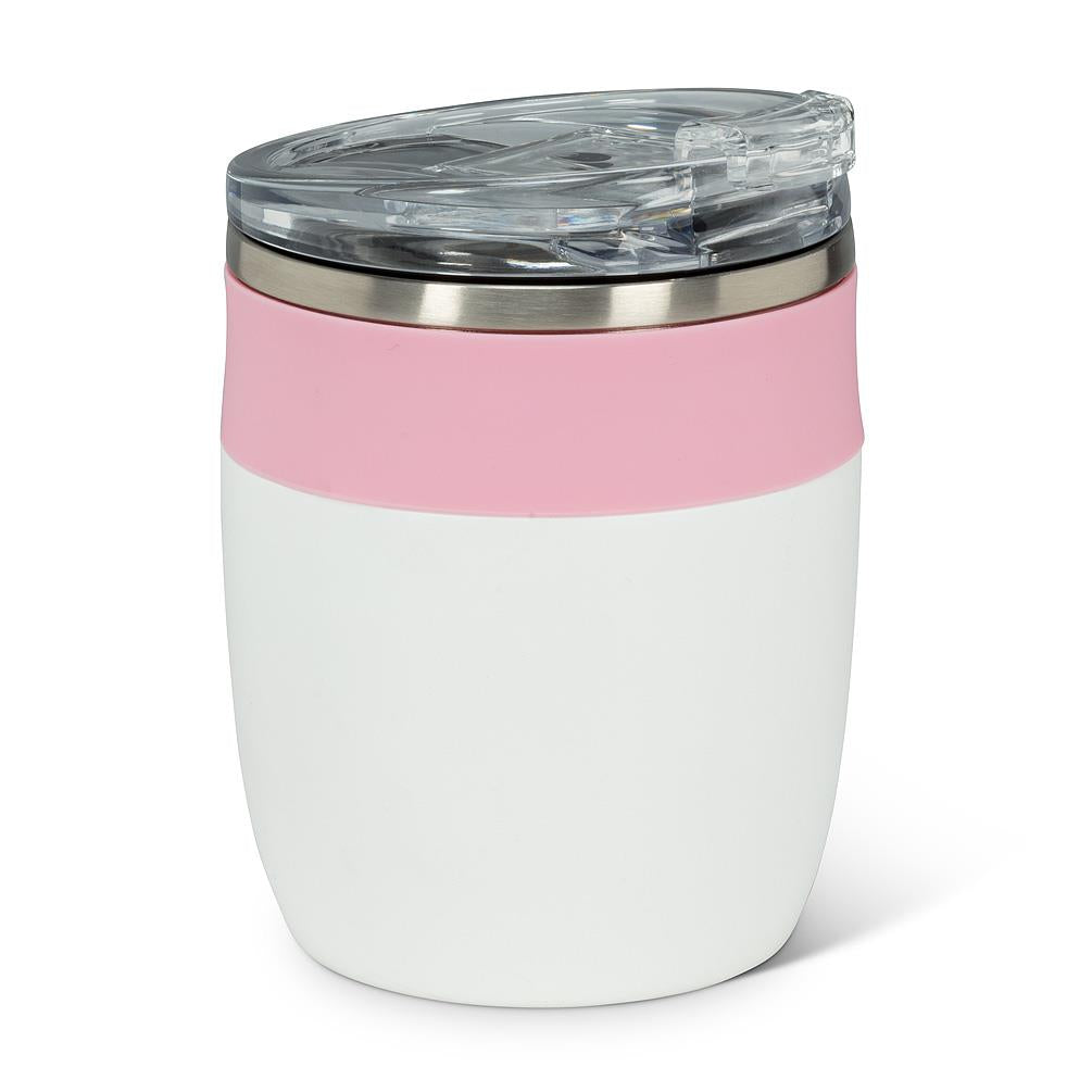 Bevi Insulated Tumbler With Flip Top Lid - White & Pink